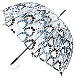 VOGUE Paraguas Transparente Estampado. Elige uno de Sus Cuatro exclusivos Dibujos. Paraguas antiviento. (Estampado Tono predominante Azul)