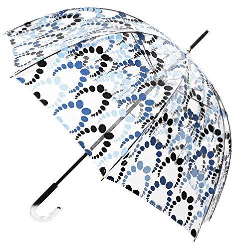 VOGUE- Paraguas Transparente. Cuatro exclusivos Estampados. Paraguas antiviento. Paraguas Mujer Transparente con puño de metacrilato (Estampado Color Azul)