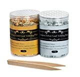 Gilding Flakes - Color 2.5 Imitation Gold Flakes and Silver Flakes, 2 Bottles Metallic Foil Flakes for...