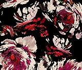 Stof STOFVIS02 – Tessuto Floreale Nero – Tessuto di Viscosa – STOFVIS02 – al Metro – 100% Viscosa – Luce Galleggiante