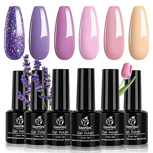 Beetles Gel Nail Polish Set, Lucky Lavendar 6 Colors Collection Purple Glitter Nude Cotton-Candy...