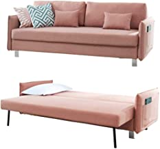 Modern Couch Living Room, Upholstered Convertible Folding Futon Sofa Bed with Fabric Adjustable Back, Metal Wood Legs and ...