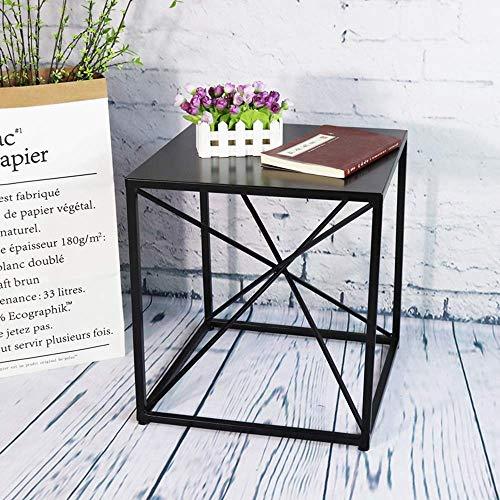 Home&Selected Voeder-/zijtafel, bijzettafel, met metalen frame, voor woonkamer, slaapkamer, keuken, marmer, tafel, van massief houten tabletop, tafelijzer (kleur: Tafelijzer) Iron Tabletop