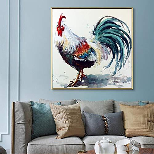YuanMinglu Lienzo Animal Print Pintura al óleo Abstracta Acuarela Gallo Imagen de la Pared para Sala de Estar decoración del hogar Pintura sin Marco 45x45 cm