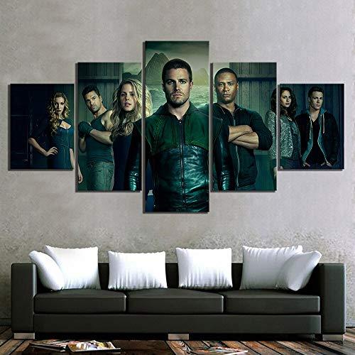 Yyoutop 5 Unidades Green Arrow Movie Poster Paintings Superhero Photo Canvas Paintings para la decoración del hogar Wall Art-Sin Marco