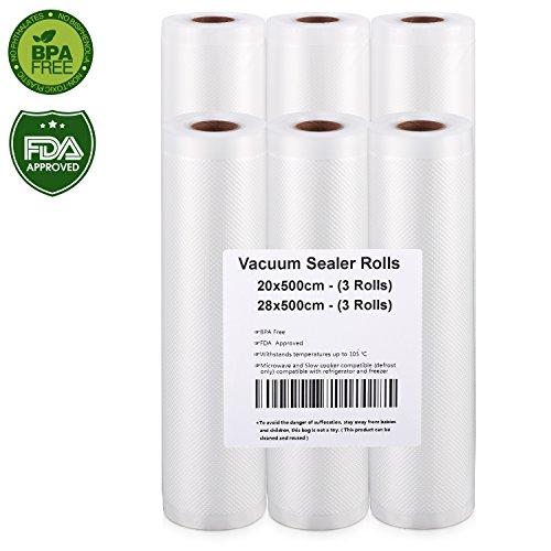 Vakuumrollen, Profi- Folienrollen 3 Vakuumrollen 20x500cm und 3 Vakuumrollen 28cm x 500cm, Folienbeutel f¨¹r Folienschwei?ger?t/Vakuumierger?t, ideal f¨¹r sous vide Kochen- Humbgo ¡