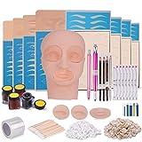 Kit de tatuaje microblading con piel de práctica, set completo de tatuaje de cejas semipermanente, tatuaje de labios de cejas cabeza plana, kit de herramientas de práctica de entrenamiento de cejas