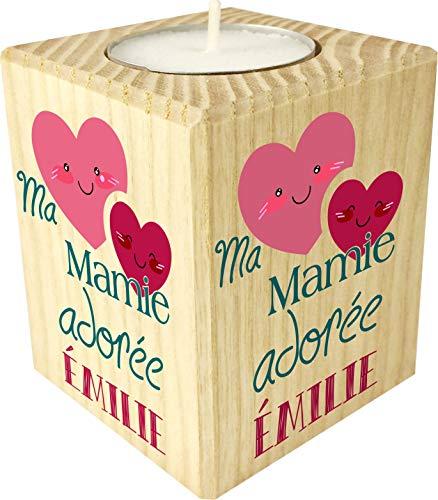Bougie personnalisée Ma Mamie adorée – Porte Bougie en Bois personnalisé avec Le prénom de Mamie – Cadeau Noël, Anniversaire, fête des Grands mères – Cadeau Personnalisable pour Mamy