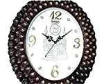 MA GIFTS Fiber and Glass Islamic Mecca Madina with Allah qul Surah Quartz Wall Clock with Peacock Feather Design and CZ Crystals Best Home Decor, Full Size, Brown