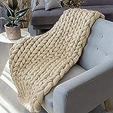LaoJee Chunky Knit Blanket Merino Wool Blend Handmade Soft Bulky Throw Sofa Chair Home Decor Giant Yarn,Beige,40'x40'