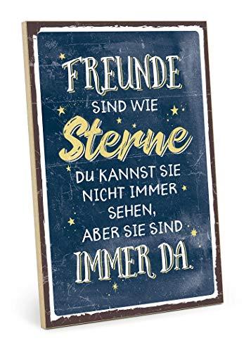 TypeStoff Holzschild mit Spruch – Freunde SIND WIE Sterne (blau-gelb) – im Vintage-Look mit Zitat als Geschenk und Dekoration zum Thema Freundschaft (19,5 x 28,2 cm)