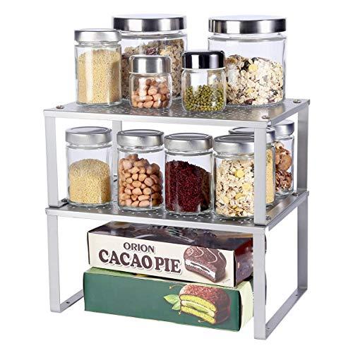 organizador armarios cocina, juego apilable de 2 estantes de metal para encimeras de colgante, estante de almacenamiento expandible especias organizador