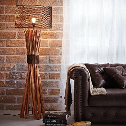 LOFT STYLE BUNCHED XL DESIGN STEHLAMPE STEHLEUCHTE mit SCHIRM | TREIBHOLZ HANDGEFERTIGT 150 cm HÖHE | HOLZ HOLZLAMPE TREIB-HOLZ UNIKAT | LAMPENSCHIRM: METALL | DIE EXKLUSIVE VINTAGE LAMPE