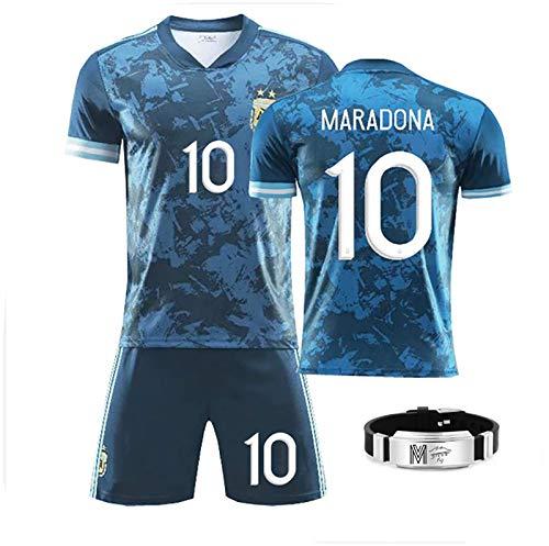 GRXIN Camiseta De Fútbol para Hombre N. ° 10,Camiseta De Fútbol De Diego Maradona, Camiseta De Leyenda De La Copa Mundial De Argentina 1986, con Pulsera Maradona,18