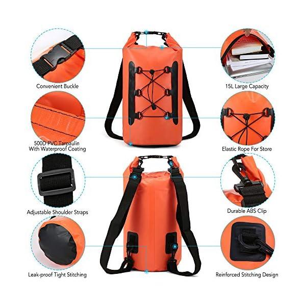 51g a8ujx L. SS600  - Lixada Bolsa Estanca Seca Impermeable Roll-Top Mochila Impermeable para Trekking Nadar Kayak Deportes Acuáticos 15L