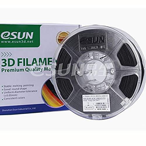 SUN-E eSun 3D Filament - PETG, 1Kg, 1.75/3.00mm zur Auswahl, Druck Tempe. 230-250℃, für 3D Drucker z.B. MakerBot RepRap MakerGear Ultimaker Mendel Huxlep UP Thing-o-matic, Universal (1.75mm, Schwarz)