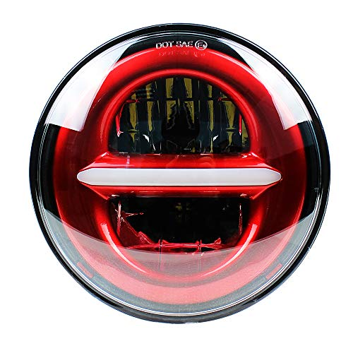 Akmties Red Motorcycle 5-3/4 5.75 LED Headlight for Dyna Iron 883,sportster,triple,low rider,wide glide Headlamp Projector Driving Light(1 pcs)