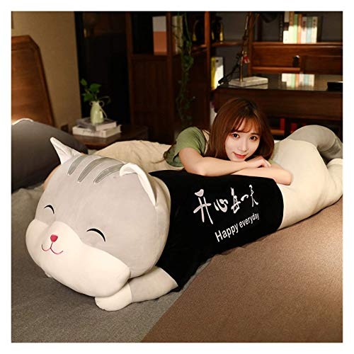 XIAN Juguete de peluche gigante de gatito, linda almohada blanca y gris, cojín de gato suave y pequeño, juguetes de regalo para niños y niñas 345 (color: gris, tamaño: 100 cm)
