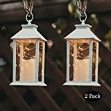 14' Gloden Brushed Vintage Candle Lantern with 30pcs Fairy Light (4 Hours Timer,3 AAA Batteries Included) Hanging Lantern  Indoor Outdoor Using Decorative Candle Lanterns Table lanterns