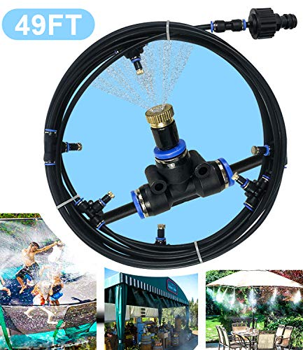 Sprinkler for Kids, Water Toys for Kids Backyard, Fun Park Summer Outdoor Play Games Yard Trampoline Accessories (49 ft, Black)
