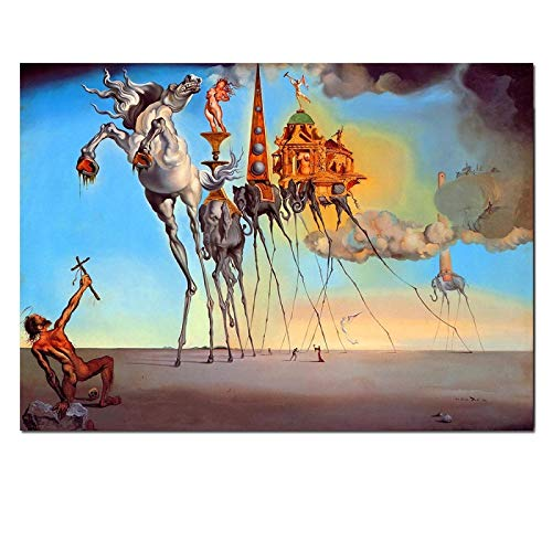 FGVB Salvador Dali Lienzo Pintura Arte Abstracto Caballo, Elefante Carteles clásicos Cuadros artísticos de Pared para Sala de Estar decoración del hogar Lienzo Impreso 60x90cm sin Marco