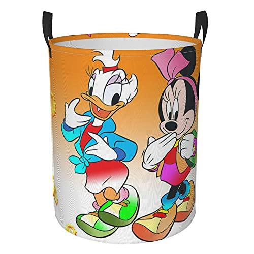Cartoon Donald Duck - Cesta de lavandería redonda impermeable con asa, de pie y plegable, bolsa de almacenamiento multifuncional (dos tamaños) M