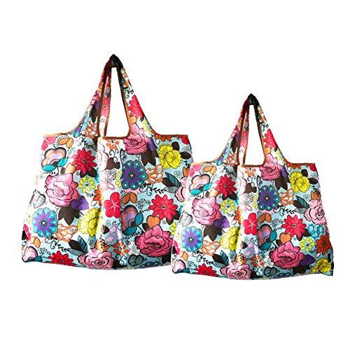 Tianfu Bolsas de la compra reutilizables, reutilizables, bolsas de la compra plegables, lavables, ecológicas, plegables, bolsas de comestibles plegables y respetuosas con el medio ambiente, paquete de 2