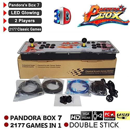 chivalrylist 2177 in 1 3D Pandora's Box 7 Arcade Spielkonsole - Unterstützung 3D-Spiele, mit Full 1080 P HD, Spiele Klassifizierung, Keine Spiele enthalten