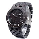 Bewell 腕時計 木製 メンズ ウッドウォッチ 天然木 腕時計 男性 クオーツ アナログ表示 日付 軽量防水 夜光 クオーツウォッチ(黒檀)
