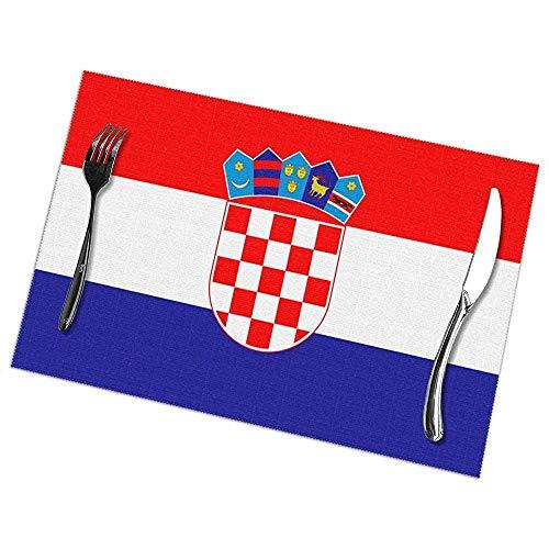 Nonebrand Tischsets mit kroatischer Flagge, für Esstisch, Set mit 6 Platzdeckchen, 30,5 x 45,7 cm