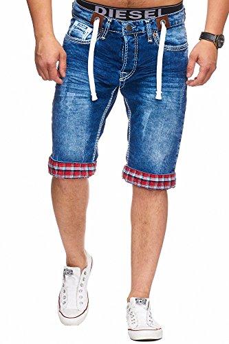 L.gonline Jeans Bermuda Herren Dicke Naht L-2020 (W36, H-Weiß)
