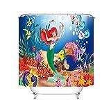 Bfrdollf Duschvorhang DisneyMeerjungfrau Arielle 180x200180x180 Strand Bunt Badezimmerteppich 4-teiliges Set, Shower CurtainsWasserdicht (8,120 x 200 cm)