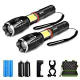 2 Pack Super Bright Tactical Flashlight Zoomable 6 Modes Waterproof Magnetic Base LED