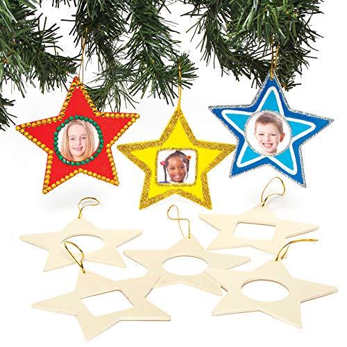 Baker Ross Deko-Anhänger Stern aus Holz mit Fotorahmen (8er-Pack), perfekt für Kinder zum Entwerfen und Dekorieren, ideal für Schulen, Handwerksgruppen
