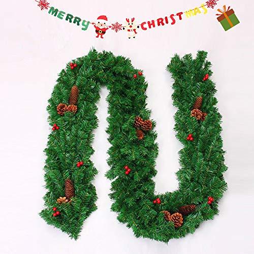 Enhome Weihnachtsgirlande mit Beleuchtung, Tannengirlande Weihnachtsdeko Weihnachtstürdekor für Innen und Außen Verwendbar mit 8 Modus Lichterkette (270cm = 106inch)