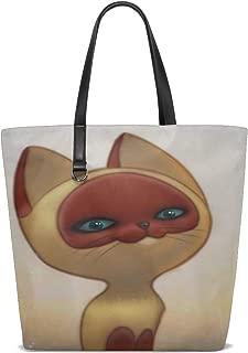 Kitten Named Woof Cartoon Cat Drawing Tote Bag Purse Handbag For Women Girls
