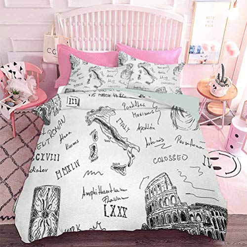 Hiiiman 3pc Comforter Set Roman Period Icons Caesar Colosseum Gladiator and Map Sketch Art (3pcs, Oversized King Size) Machine Washable