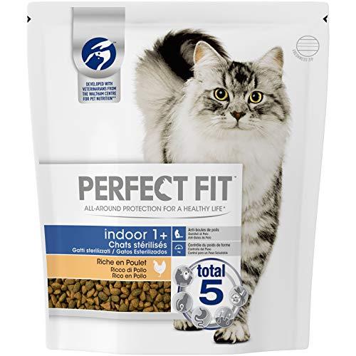 Perfect Fit Indoor - Croquettes pour chat adulte d'intérieur stérilisé, riche en poulet, 4 sacs de 1,4kg