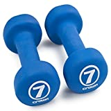 Set of 2 Body Sculpting Hand Weights - Soft Neoprene Coated Dumbbell Set - Supplies for Exercise, Workout, Weight Loss, Body Building - for Men, Women, Seniors, Teens, and Youth (7 LB)