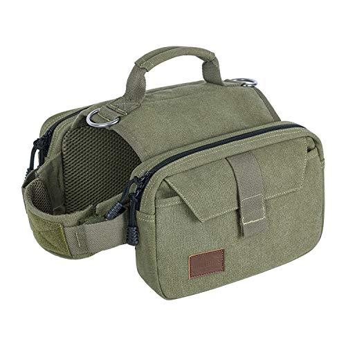 OneTigris HOPPY CAMPER 2,0 Hunderucksack Camping Wandern Reißen Hundebackpack für M/L Größe Hunde (L, Ranger Grün) |MEHRWEG Verpackung