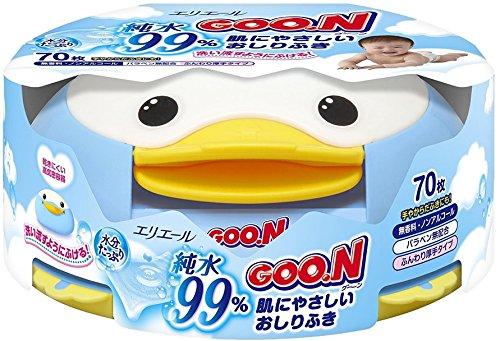 GOO.N Feuchttücher Pinguin-Box 70 Tücher Premium Qualität Made in Japan - Perfektes Geschenk!