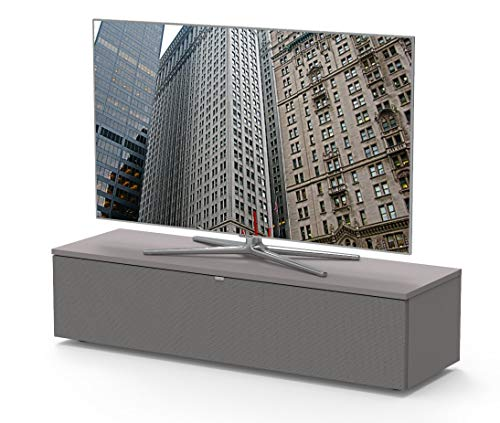 Premium TV-Möbel, Lowboard, Maße: 130x32.5x40cm, incl. Akustikstofffront, abnehmbare Rückwände, Made in Germany, einfache Montage, Farbe: Grigio