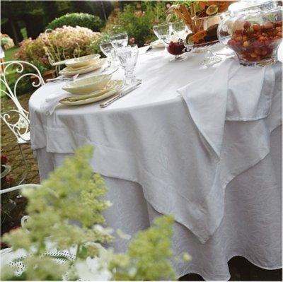 Blanc des Vosges Ombelle Nappe Ronde, Coton, Blanc, 175x175 cm