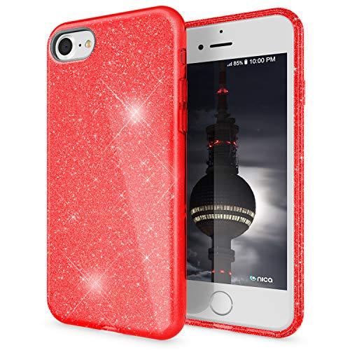 NALIA Glitter Case Compatible con iPhone SE 2020 / iPhone 8 / iPhone 7 Funda, Purpurina Carcasa Brillante Silicone Cubierta Sparkle Proteccion, Delgado Bling Cover Goma Bumper Brillo, Color:Rojo