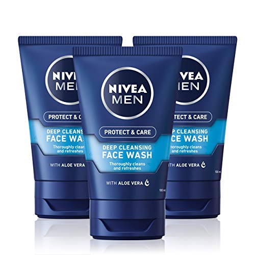 NIVEA MEN Deep Cleaning Face Wash Protect & Care (150 ml), Deep Cleansing...