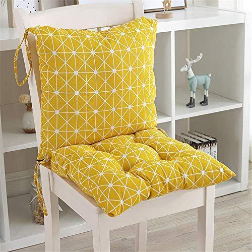 ANQI Cojín para silla de respaldo bajo con asiento trasero y cojín de respaldo con corbatas, silla de jardín, almohadilla de asiento de oficina, extraíble lavable
