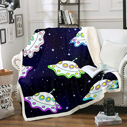 Manta de forro polar para niños, diseño de ufo, para silla, sofá, galaxia, resistente a las manchas,espacio exterior, temática de cielo estrellado, bebé de 30 x 40 pulgadas