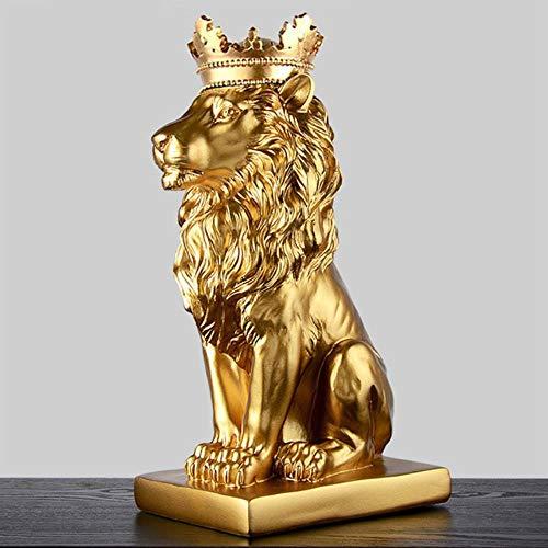 YEZINB Corona de Oro Estatua del león Resina Moderna Estatuilla de Animales en Blanco y Negro Decoración del hogar Escultura de artesanías de Escritorio, Oro
