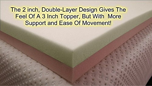 Snuggle-Pedic Patented Double Layer 4lb. & 5lb. Density Viscoelastic Memory Foam Mattress Topper Pad with Reversible Comfort - Queen Size