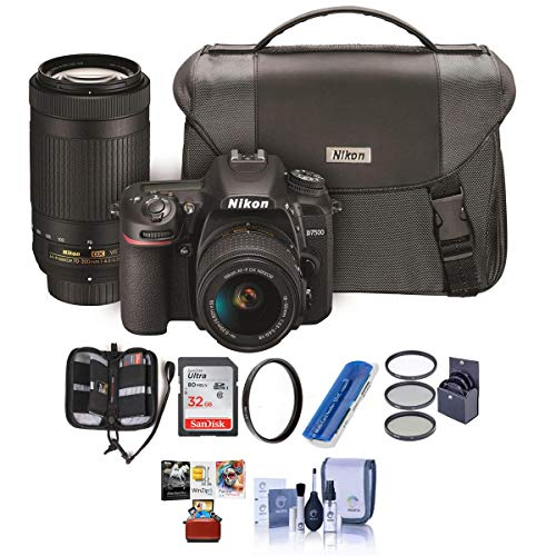 Nikon D7500 DSLR with AF-P DX NIKKOR 18-55mm VR and 70-300 ED VR Lenses, Bag - Bundle with 32GB SDHC...